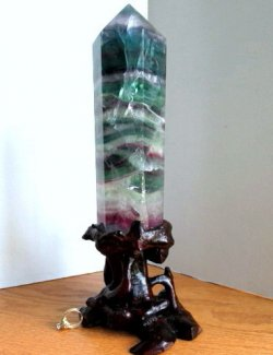 Large Fluorite Tower on Stand