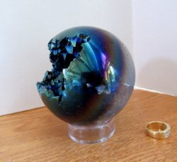 Quartz/Agate Titanium Cut-Out Sphere