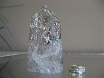 **SOLD**Clear/Smoky Quartz Crackle Point
