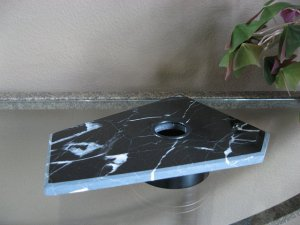BLACK & WHITE MARBLE LIGHTED DISPLAY STAND