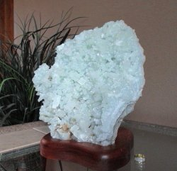 Large Green Apophylite Cluster w/Stand