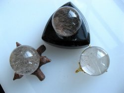 Clear/Smoky Quartz Rutile Spheres (Set of 3)