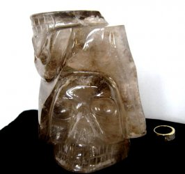 Skull Duo in Smoky Quartz Sculpture