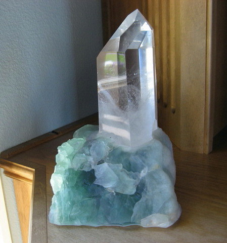 Clear Phantom Quartz Tower & Lighted Fluorite Base - Click Image to Close