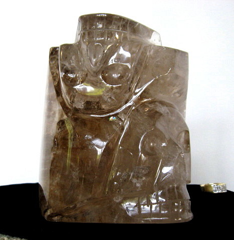 Skull Duo in Smoky Quartz Sculpture - Click Image to Close